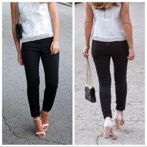 J.Crew Dannie Black Zip Skinny Jeans Size 6